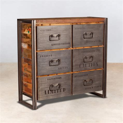 cuisine style indus meuble commode en bois recyclés 6 tiroirs métal industryal