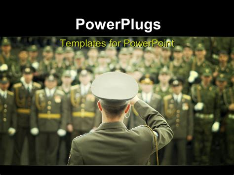 military powerpoint powerpoint template lots of officials in on a blurry background with a leader saluting
