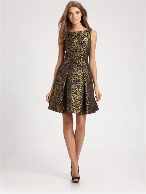 theia brocade dress  metallic lyst