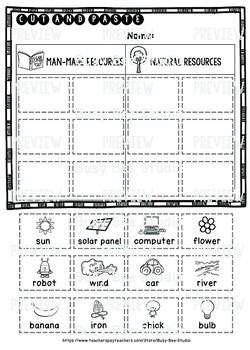 made natural resources category sort cut and paste worksheets