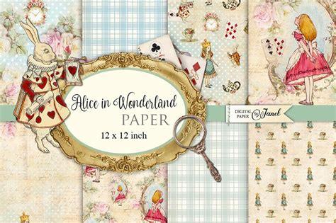 alice  wonderland paper illustrations creative market