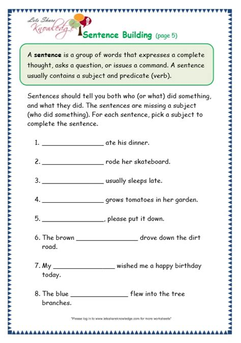 Grade 3 Grammar Topic 35 Sentence Building Worksheets  Lets Share Knowledge