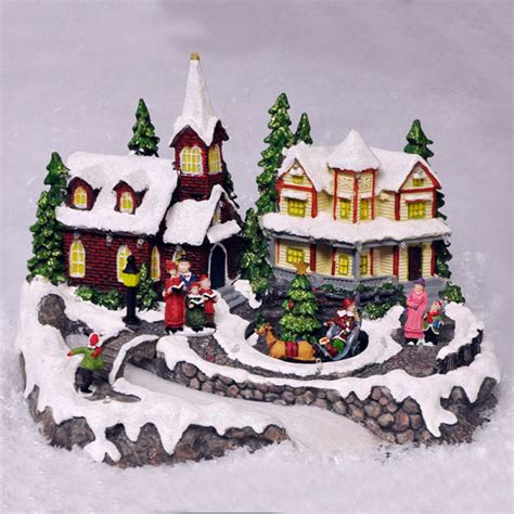 animated christmas village scene fibre optic led lights