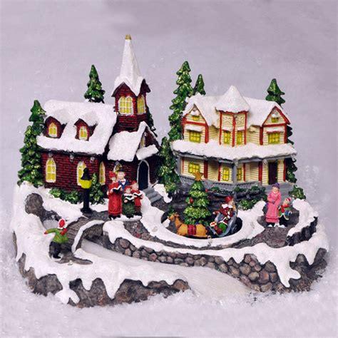 animated christmas village scene ornament lights sounds