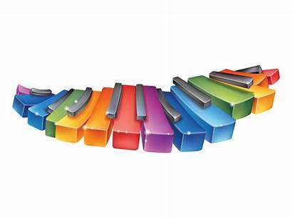 Piano Rainbow Keys Clipart Cartoon Vector Colorful