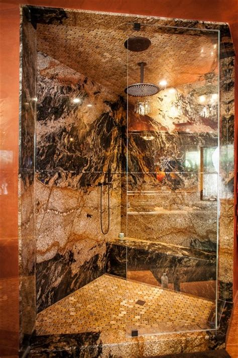 desert dream granite slab shower mediterranean