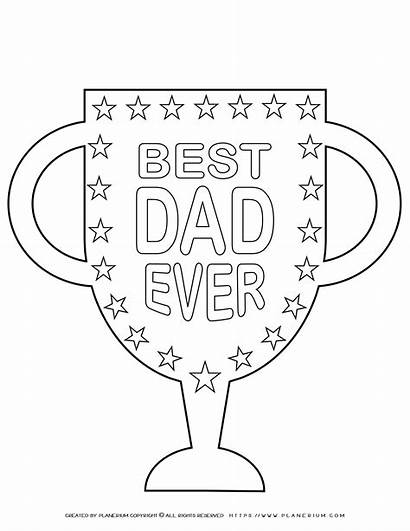 Dad Coloring Trophy Ever Grade Worksheets Planerium