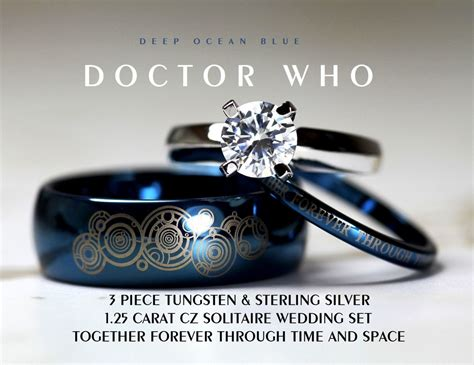 Doctor Who Inspired Wedding Set 3 Piece His 8mm By