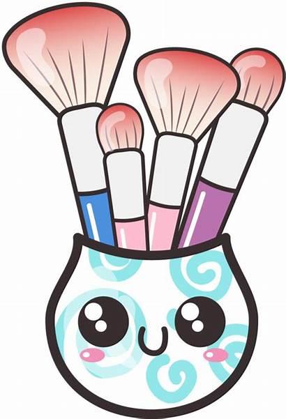 Makeup Clipart Clip Cartoon Brush Brushes Kawaii