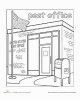 Office Town Paint Coloring Worksheet Worksheets Education Clipart Pages Mail Places Kindergarten Preschool Crafts Drawing Community Library Station Fire Building sketch template