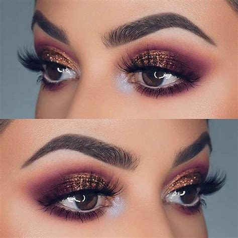 Purple Bronze Glitter Eye Makeup Idea For Prom