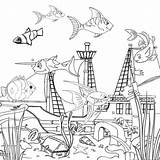 Coloring Ocean Printable Sea Fish Under sketch template