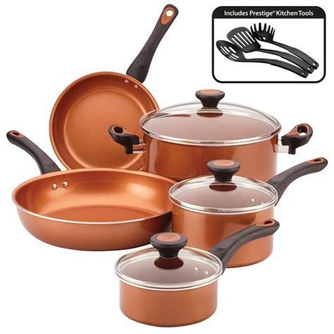 shop farberware glide copper ceramic nonstick cookware set pc overstock