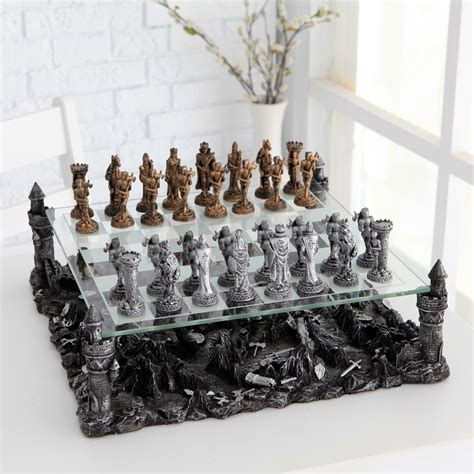 knight pewter chess set chess sets  hayneedle
