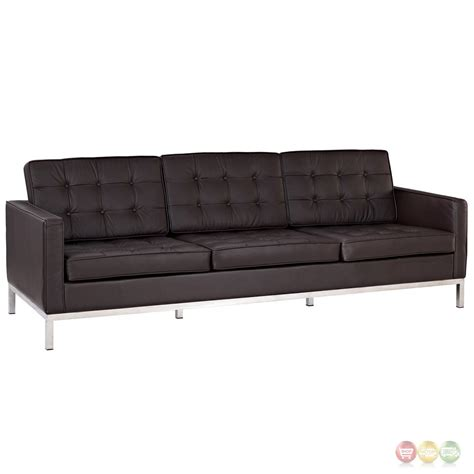 loft contemporary button tufted leather sofa with steel