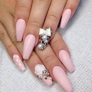 Matte baby pink coffin nails with 3d roses and bows ...
