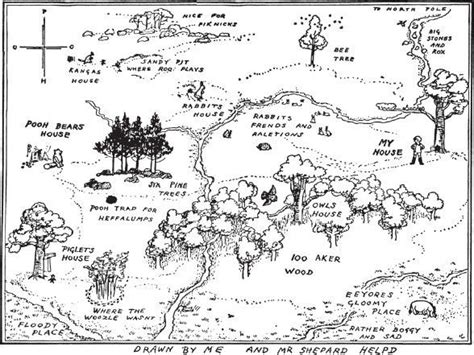 Original Winnie The Pooh 'hundred Acre Wood' Map Up For