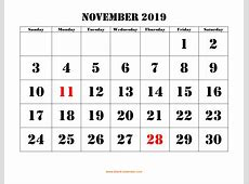 Free Download Printable November 2019 Calendar, large font