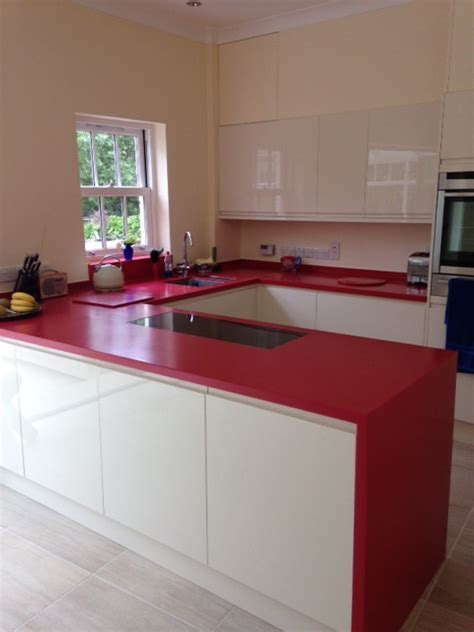 royal red corian kitchen counter production