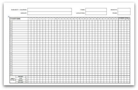 attendance register templates word excel formats