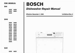 Bosch Shi Shu Shv Dishwasher Service Manual