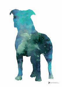 Blue Abstract Pitbull Silhouette Painting by Joanna Szmerdt