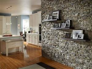deco pierre pour les murs de la cuisine en 49 exemples With what kind of paint to use on kitchen cabinets for new england patriots wall art