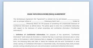 non disclosure agreement With nda template word document
