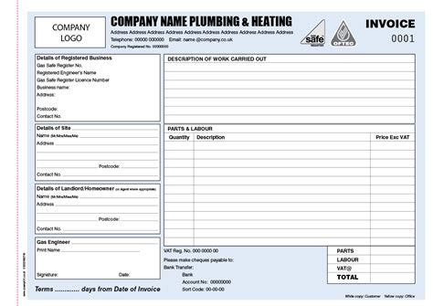 invoice books  plumbers personalised duplicate pads