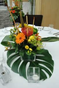 Tropical Wedding Table Floral Centerpiece