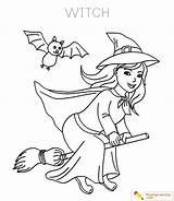 Witch Coloring Halloween sketch template