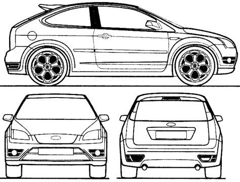 ford focus st  door hatchback blueprints  outlines
