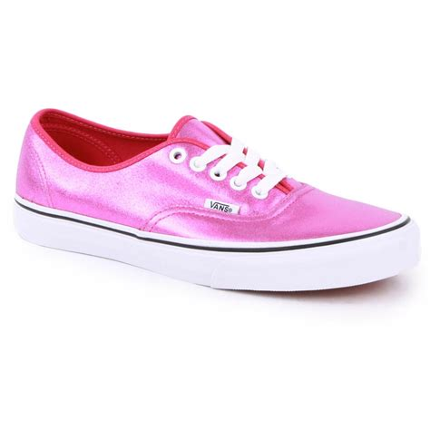 vans metallic authentic womens trainers in pink