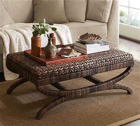 seagrass coffee table ottoman pottery barn