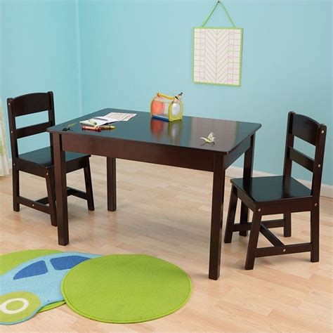 kidkraft rectangle table and chair set in espresso 26680