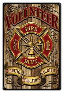 Volunteer, Fire, Dept, Metal, Sign, 12, X, 18, Inches