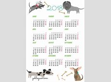 calendarios2018gratisimprimirperros Yo Blogueo