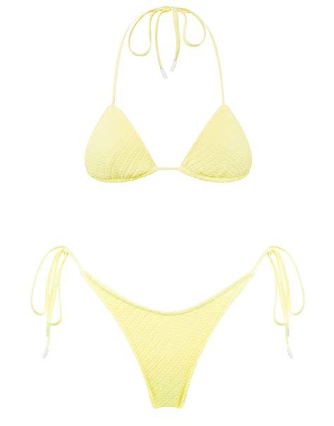 A textured pattern side-tie bikini in lemon yellow. Fully ...