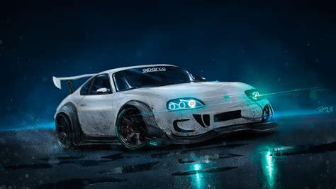 wallpaper toyota supra custom drift neon lights hd