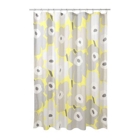 marimekko shower curtain marimekko unikko grey yellow cotton shower curtain