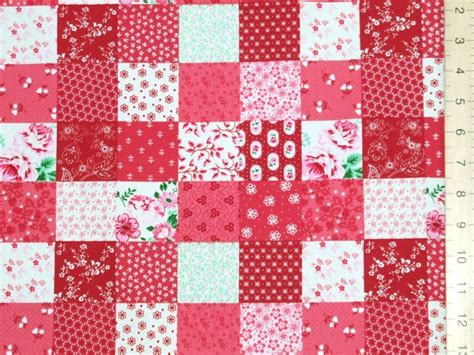 printed patchwork pure cotton fabric red