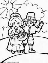 Thanksgiving Coloring Pilgrim Pages Printable Disney Pilgrims sketch template