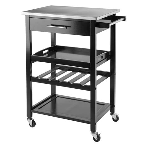 winsome wood anthony black kitchen cart  stainless