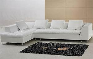 L Sofa : white contemporary l shaped leather sectional sofa couch pillows tosh furniture ebay ~ Buech-reservation.com Haus und Dekorationen