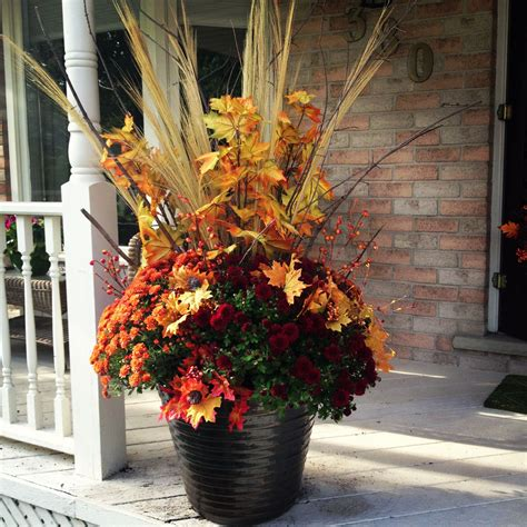 Fall Planter For Under 20 Dollar Store Fake Leaves And