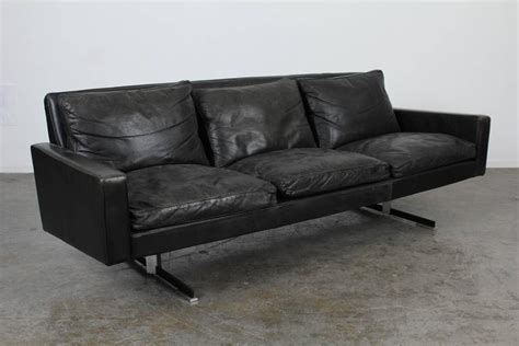 mid century leather sofa mid century modern black leather sofa with chrome legs at