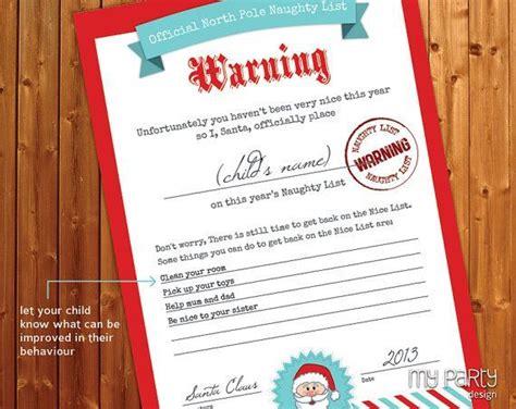 santa naughty list certificates naughty  nice list