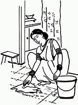 Coloring Pages Maid Working Labor Colouring Indian Domestic Lady Labour Compiled Interpreted Uae sketch template