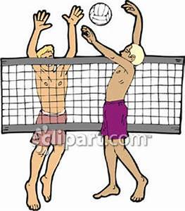 Two Men Playing Volleyball - Royalty Free Clipart Picture
