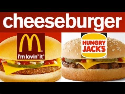 mcdonalds  burger king hungry jacks cheeseburgers